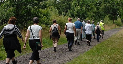 Group of people walking to improve their health and wellbeing
